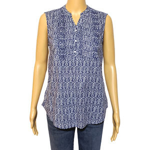 Bit & Bridle M Blue Sleeveless Western Top Blouse